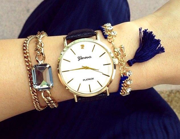 Zegarek Geneva Damski Klasyk Zloty Blog Bracelet Watch Gold Watch Boho Fashion
