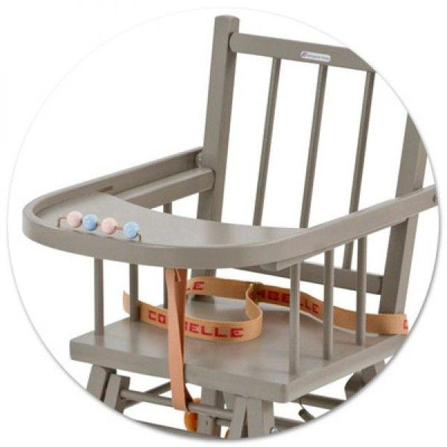 Chaise haute Marcel transformable barreaux laquée bleu COMBELLE