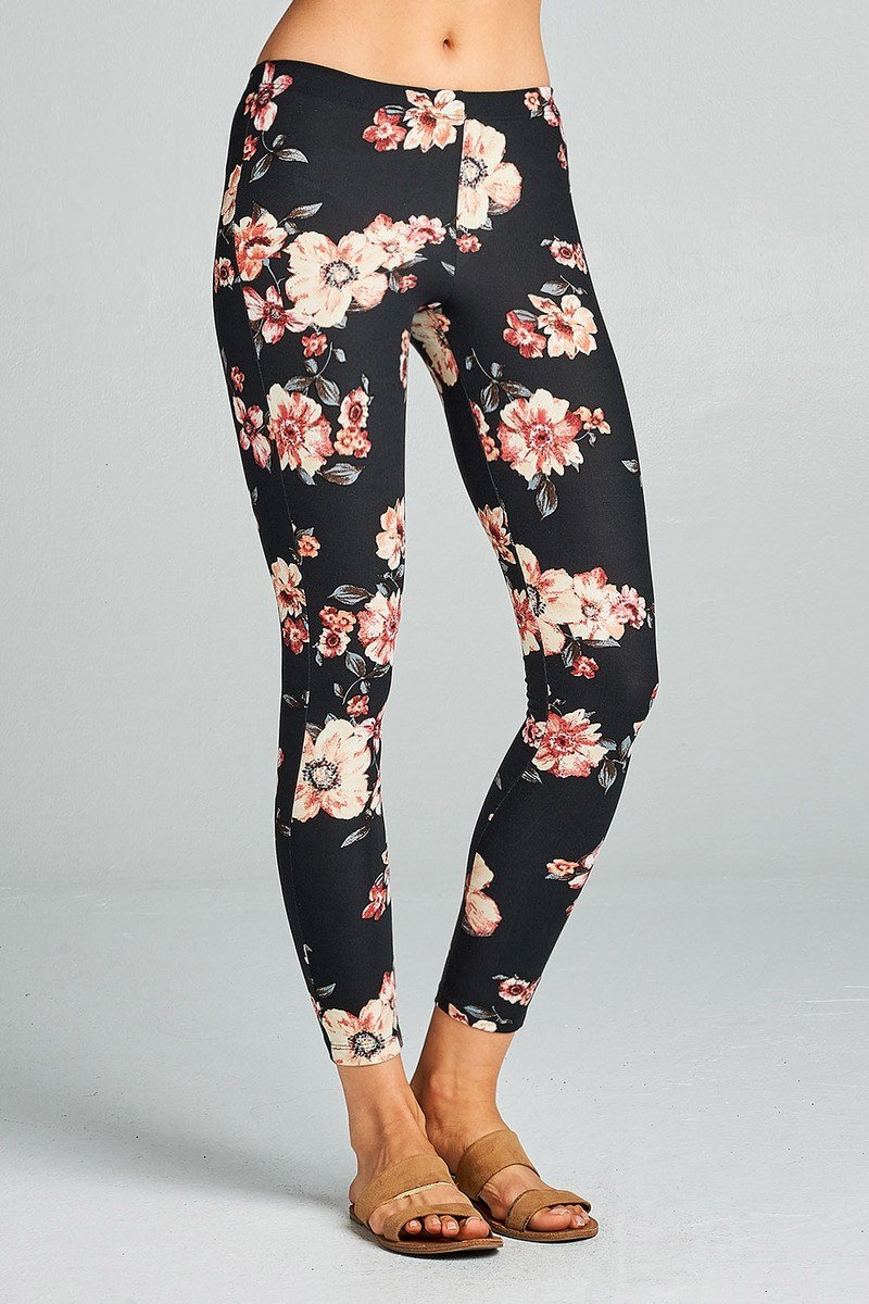 7e75dc462e7 Ladies fashion big floral print poly spandex brushed leggings ...