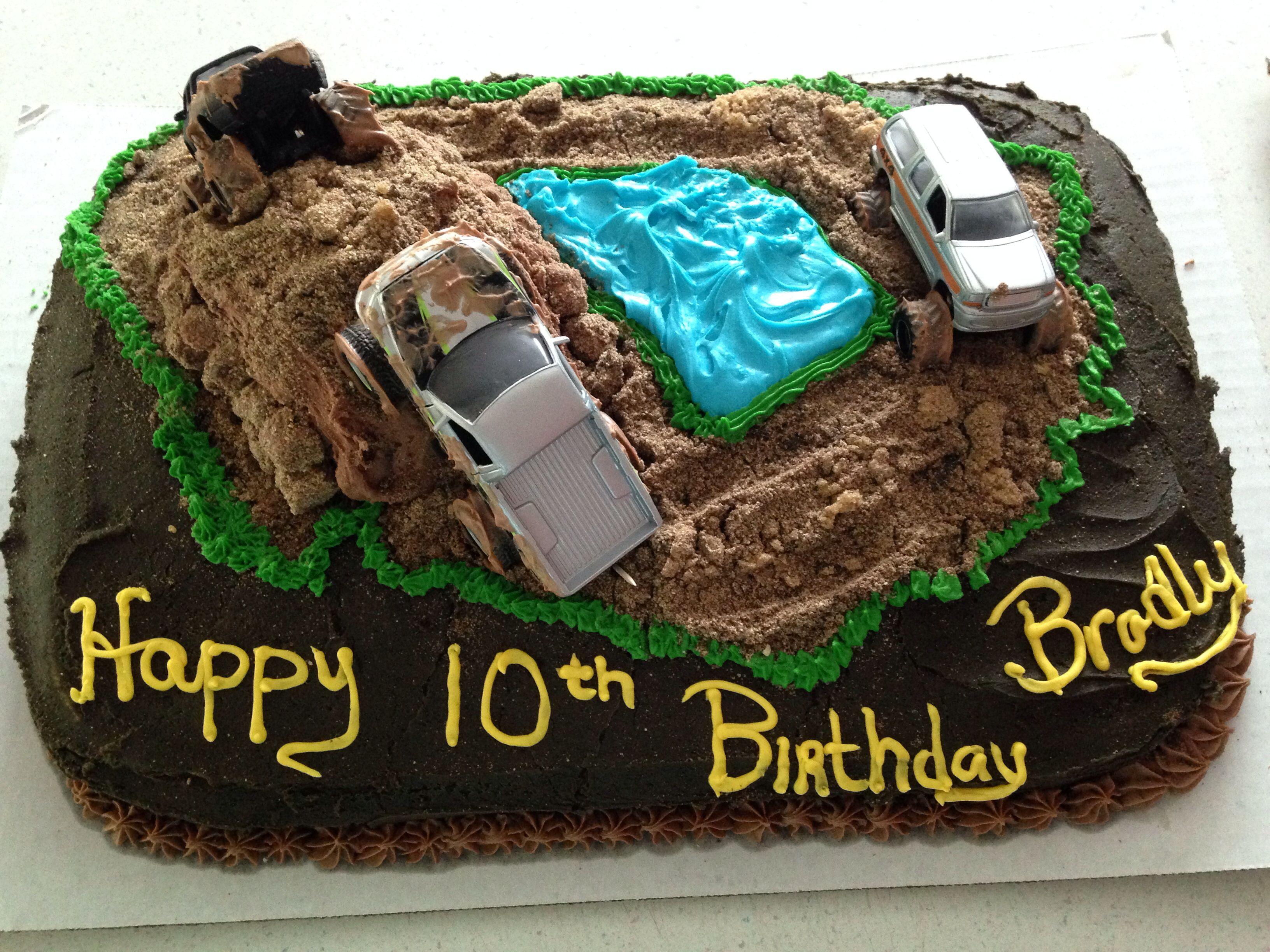 Marvelous Bradlys Mud Truck Cake With Images Truck Cakes Cake Food Personalised Birthday Cards Sponlily Jamesorg