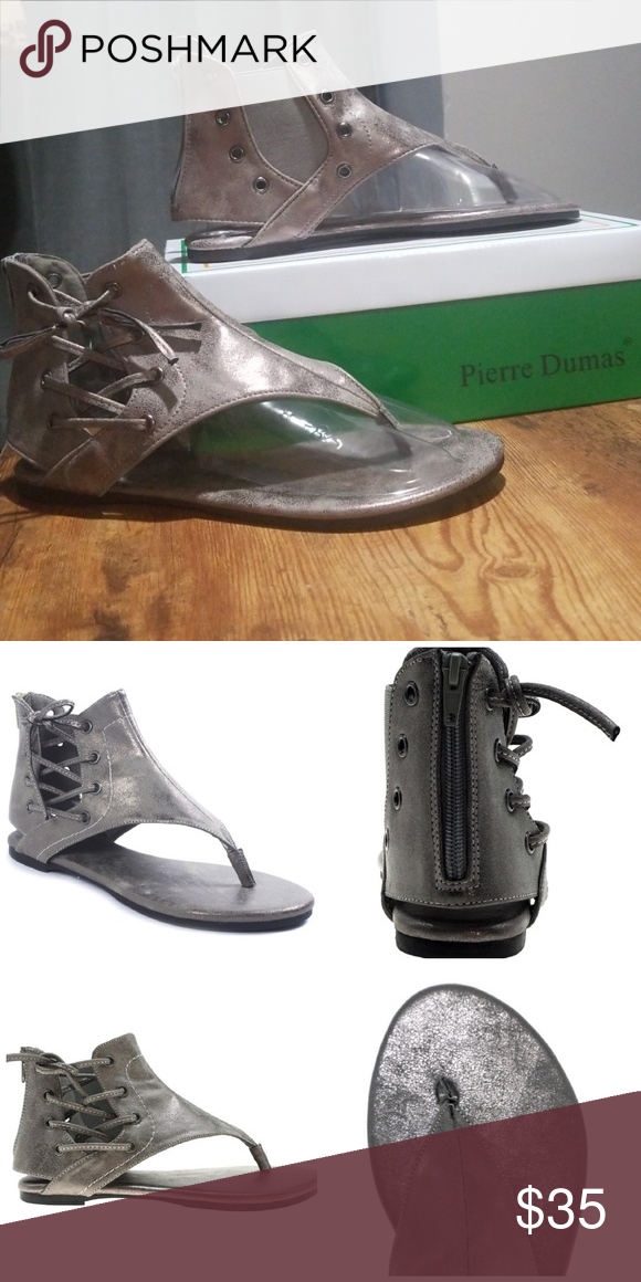 d5ca04f320d7 Pewter Pierre Dumas Sandals (Adele-2) Love these sandals! Pewter in color  with gorgeous lacing detail on the outside of the shoe.