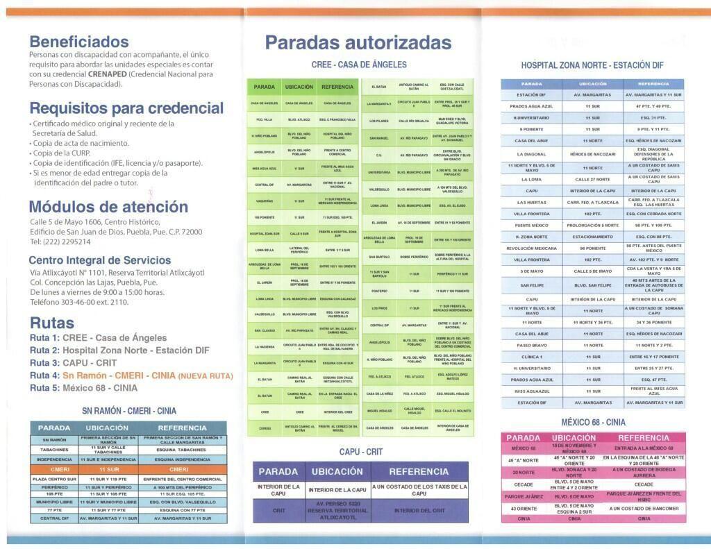 ENTÉRATE. Estas son las rutas de la #UnidadMóvilAdaptada, al servicio de personas con alguna discapacidad #Puebla.