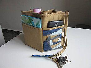 Taštičky - Organizer do kabelky z horčicovo-pieskovej džinsoviny - 6150822_
