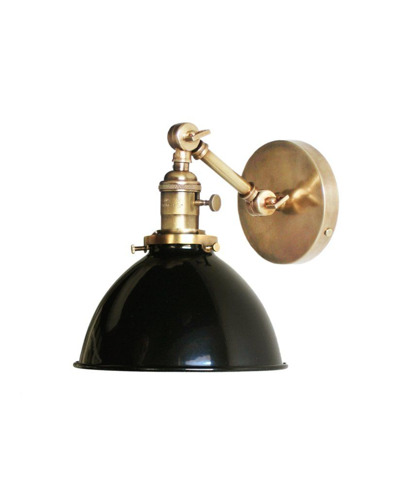 Attractive Jefferson Single Arm Wall Sconce With Black Enamel Shade, Antique Brass