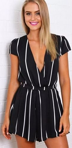 36cfc3c4579 Calling All The Shots Black White Vertical Stripe Short Sleeve Cross Wrap V  Neck Tie Waist Short Romper