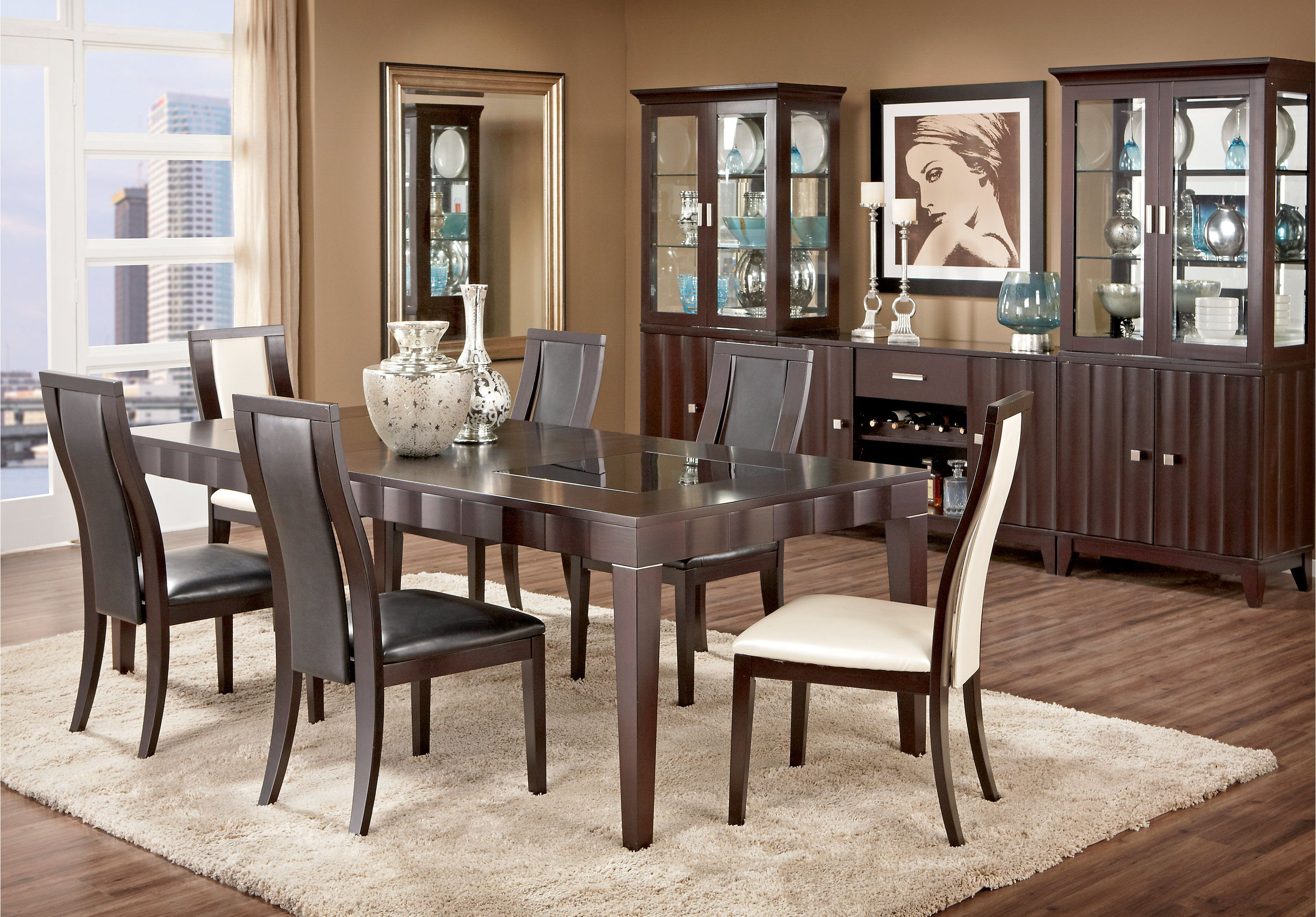 Picture Of Mondavi Espresso 5 Pc Dining Room W Black Chairs From