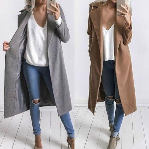 dbaec401e952 NEW Winter Womens Long Wool Coat Lapel Parka Jacket Cardigan Overcoat  Outwear 2