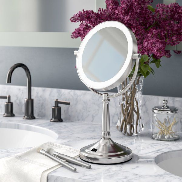 Mcelvain Cordless Dual Sidedbeveled Magnifying Led Traditional Lighted Makeup Shaving Mirror Shaving Mirror Mirror Makeup Mirror