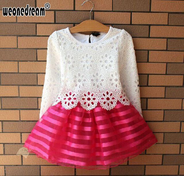 Online Shop Hot Sale 2016 Summer Girl Dress Children Girls S Clothing Set Spring Long Sleeve Party Striped Whi Ropa Para Niñas Vestidos Para Niñas Ropa De Niña
