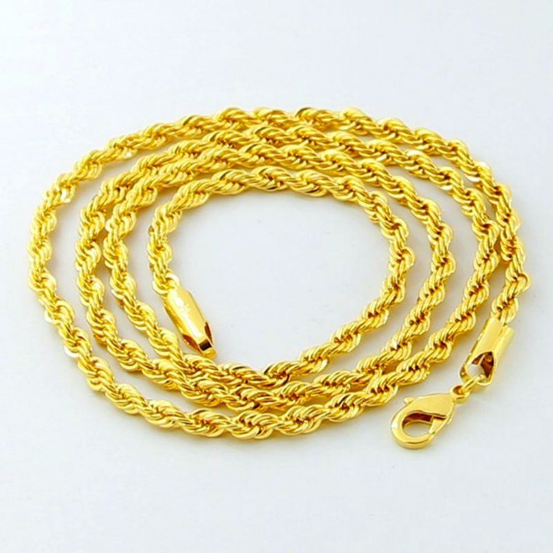 Luxury 24K Gold Twisted Chain Men Women Jewelry Iced out Jewelry ...