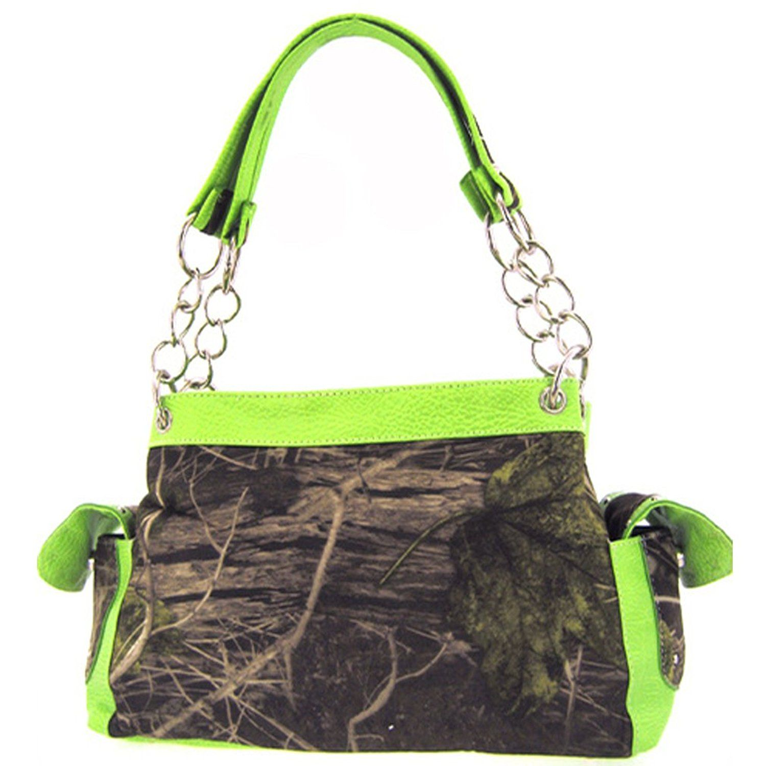 Camouflage Satchel Purse Green Trim Camo Chain Straps >>> Click image for more details.