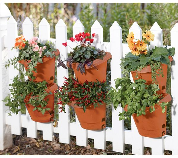 Bloem 3 Piece Hanging Garden Planter System Terra Cotta Qvc Com Hanging Garden Plastic Planter Vertical Vegetable Garden