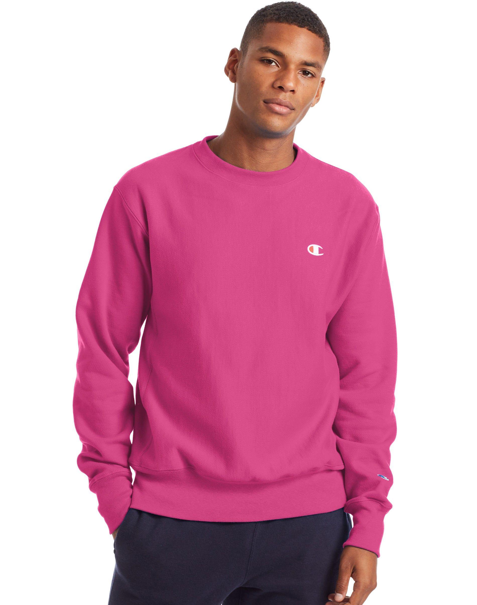Men S Champion Life Reverse Weave Crew Peony Parade Pink Pink Sweatshirt Men Long Sleeve Tshirt Men Clothing Brand [ 2410 x 1900 Pixel ]