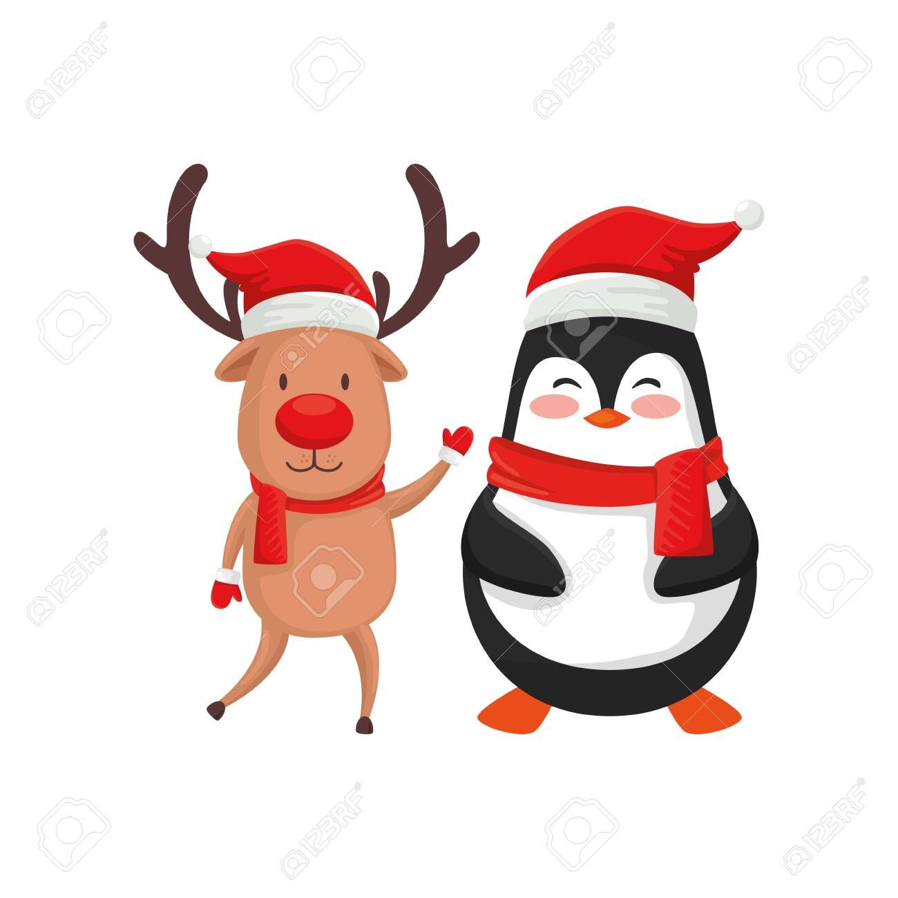 reindeer with penguin characters merry christmas vector illustration design , #sponsored, #characters, #merry, #reindeer, #penguin, #illustration