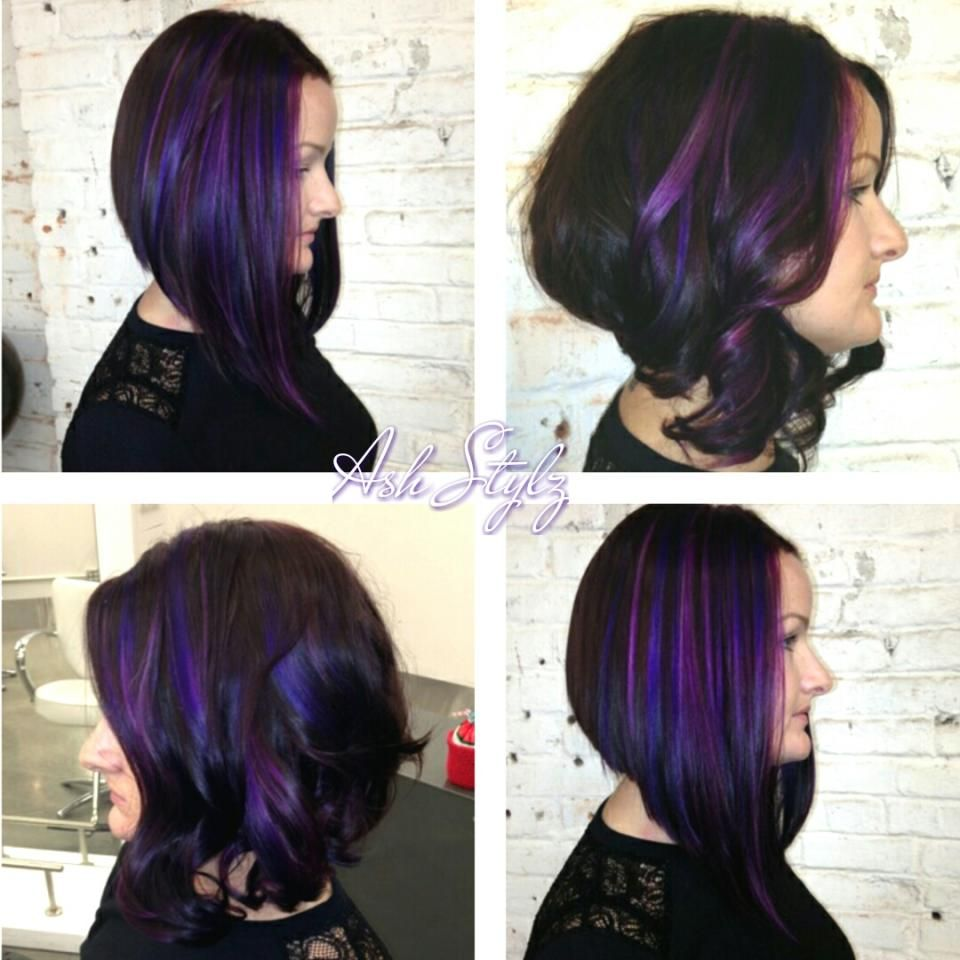 Long angled bob, with purple dimensions.