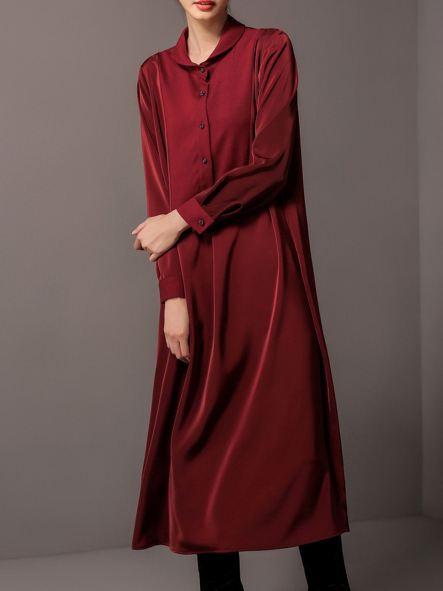 Adorewe stylewe midi dresses lantian long sleeve shirt collar h