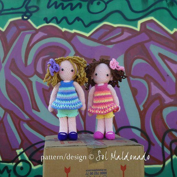 Doll Crochet Pattern Sara & Kate best friends Girls PDF por bySol