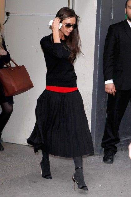 Victoria Beckham, like the splash of Red in otherwise all black