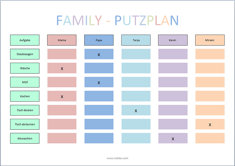 Putzplan Vorlage Familie | sonstiges | Pinterest | Putzplan ...