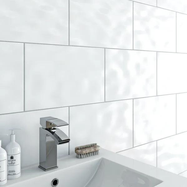 Clarity Plain Bumpy Gloss White Wall Tile 250mm X 330mm Victoriaplum Com In 2020 White Wall Tiles Bathroom Wall Tile White Bathroom Tiles