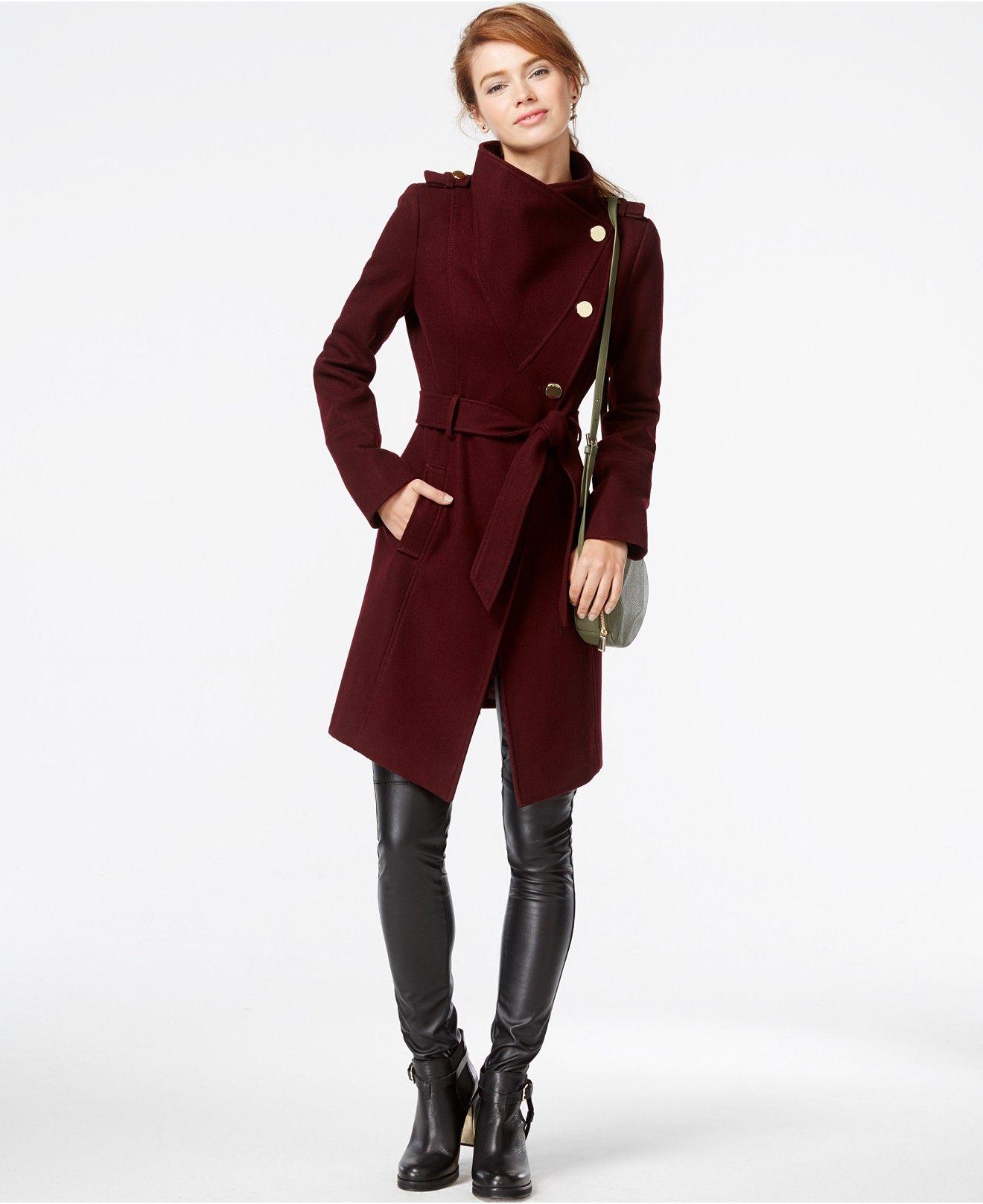 GUESS Funnel-Collar Asymmetrical Coat - GUESS Coats & Jackets ...