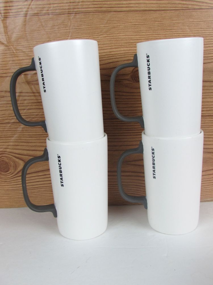 New Of Square Handle Matte Mug Set 4 Gray Slender 12 Oz Starbucks rWQBECxoed