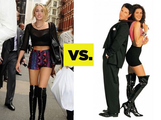 Who Wore It Better? Thigh-High Boots: Miley Cyrus VS. Pretty Woman ...