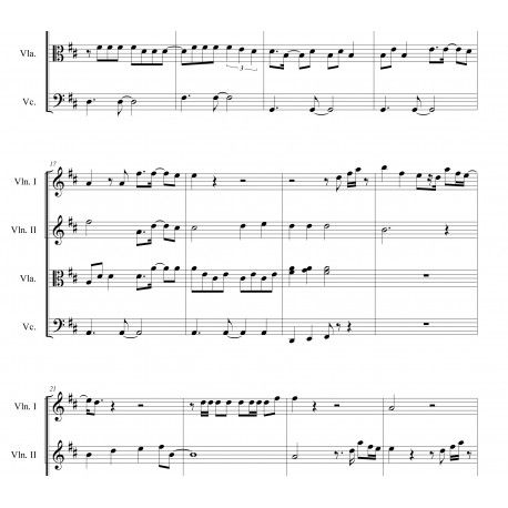 ALL FOR LOVE (Bryan Adams, The Three Musketeers) arranged for string - chess score sheet