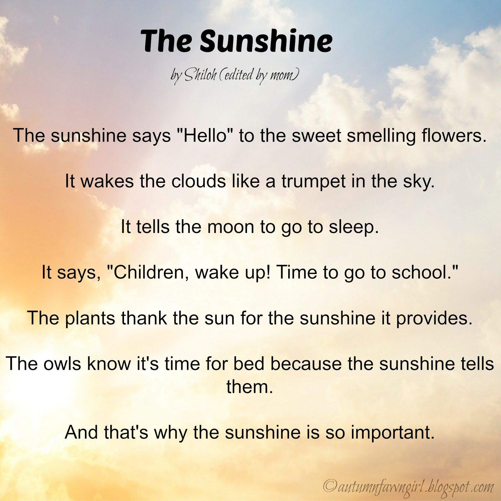 Personification Poems Examples For Kids
