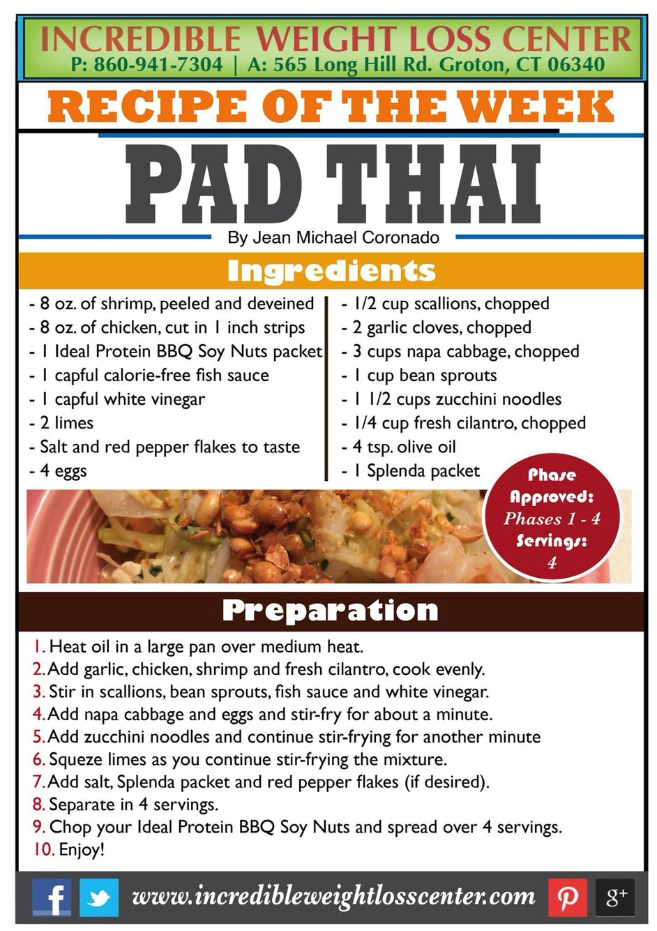Phase 1 Recipe Is A Delicious And Filling Pad Thai This Makes 4 BIG Serving Sizes It Uses Combination Of Different Proteins Ideal BBQ