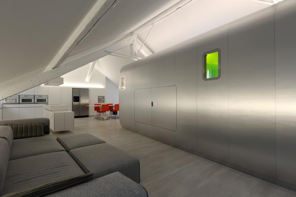 Ultra Modern Belgian Loft Inspired by Retro Airstream Silhouette - hi tech loft wohnung loft dethier architecture