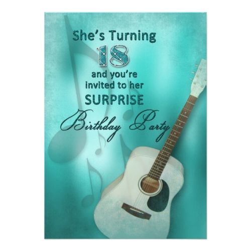 18th surprise birthday party invitation guitar 18th birthday 18th surprise birthday party invitation guitar filmwisefo