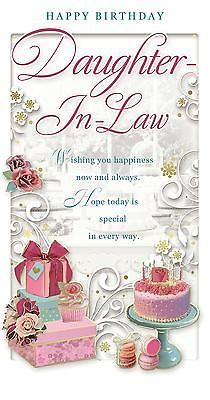 """Daughter-in-Law Birthday Card - Happy Birthday Cupcake, Roses & Gift 9"""" x 4.75"""" 