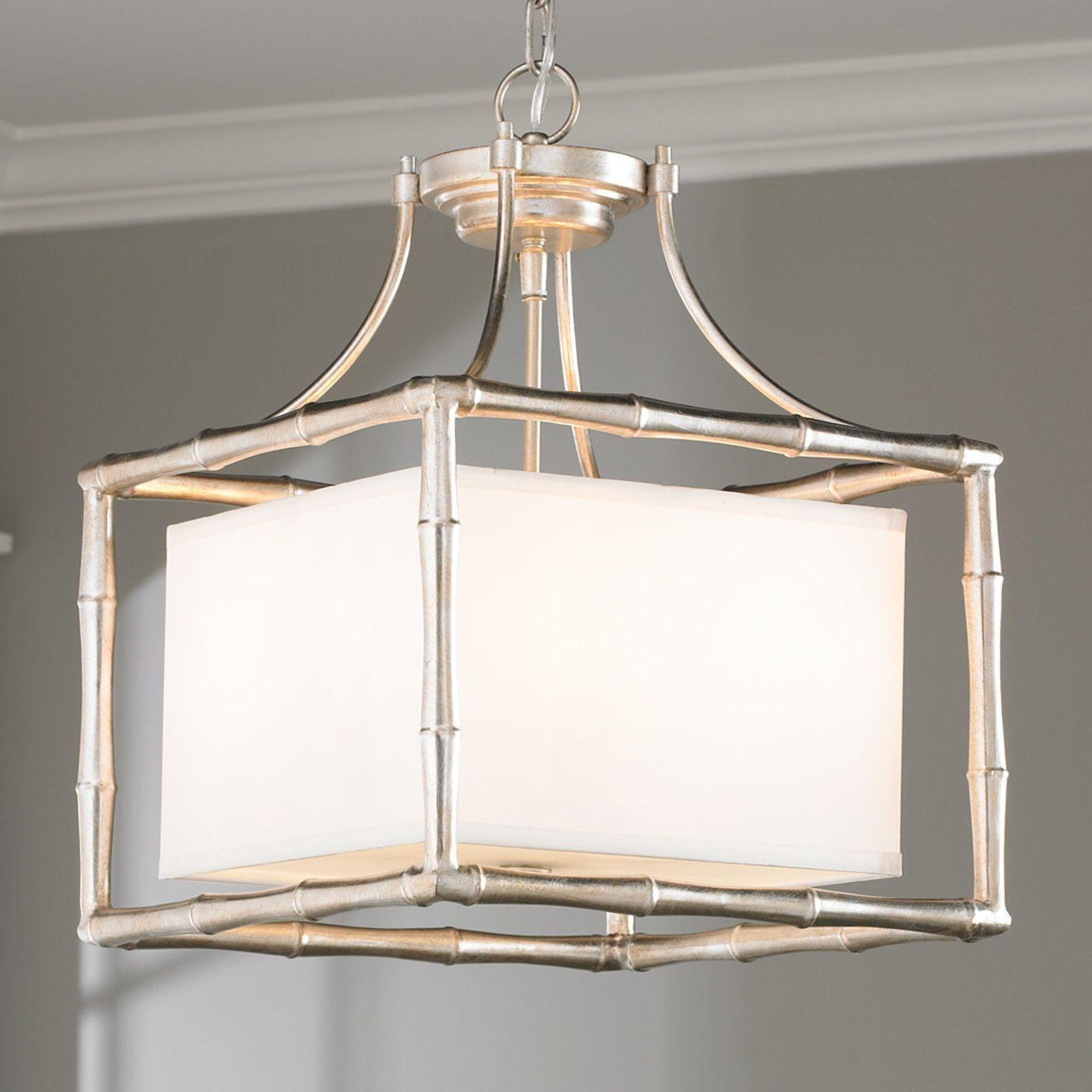 Bamboo square shade pendant lights bath and kitchens