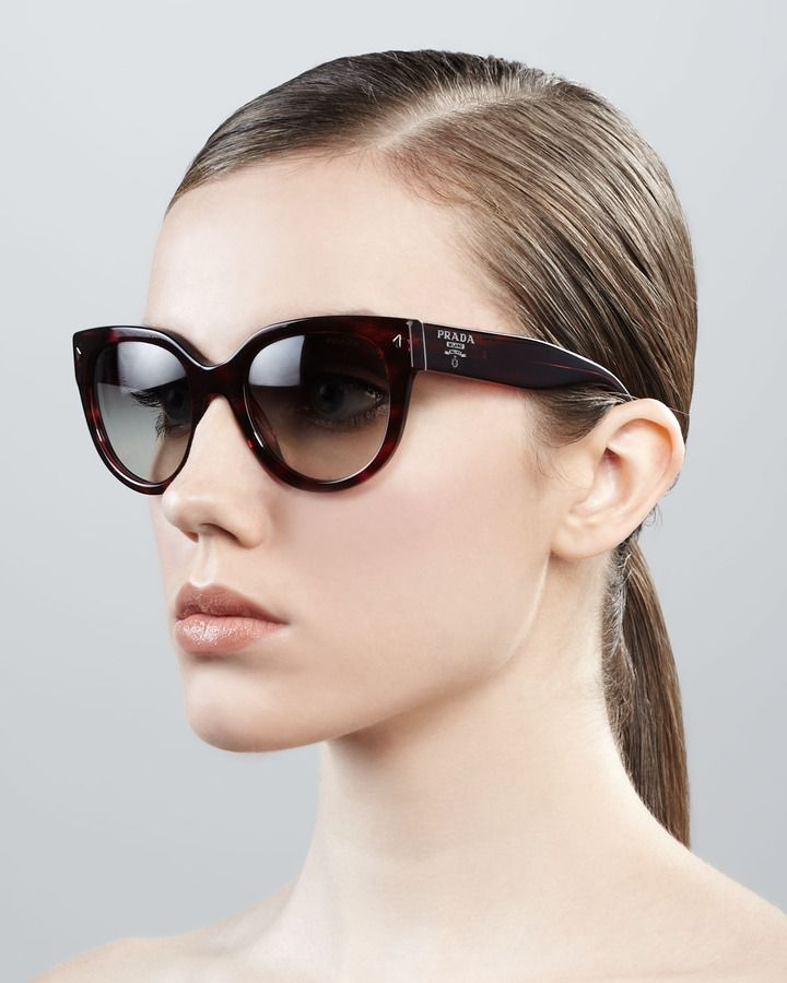4e512a2fb0ec Prada Cat-Eye Retro Rectangle Sunglasses