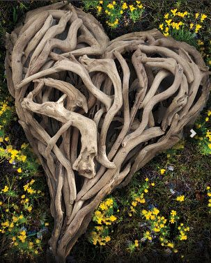 heart made of branches (my grandfather used to make intertwined branches on trees, my uncle used one as a coat rack in his restaurant, it was beautiful)