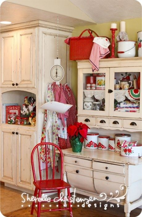 Cute Cabinet In A Cherry Themed Retro Kitchen For The Home