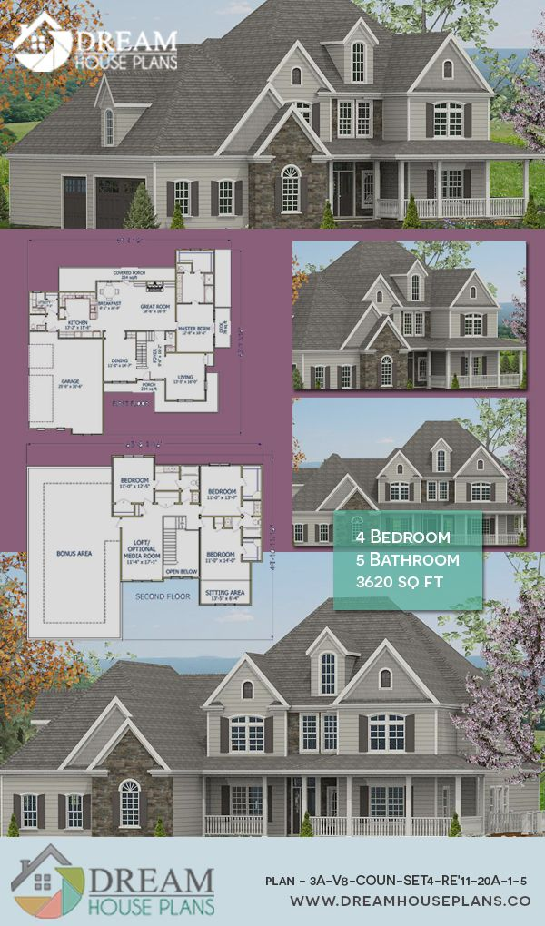 Dream House Plans Popular Colonial 4 Bedroom