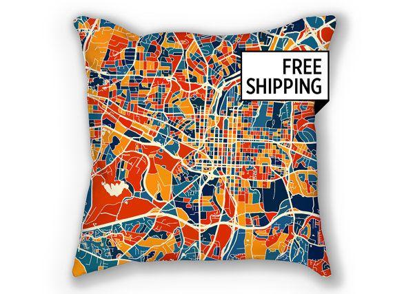Raleigh Map Pillow North Carolina Map Pillow 18x18 Etsy Map Pillow Glasgow Map Thailand Map