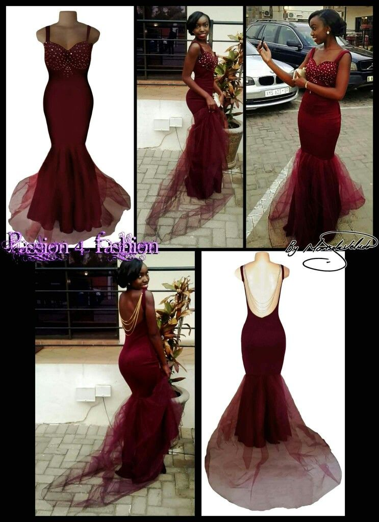 92ceaeaeed49 Maroon & gold soft mermaid matric dance dress with a sweet heart neckline,  shoulder straps
