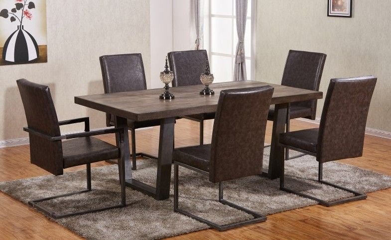 Best Quality D53 7 Pc Silvan Collection Brown Finish Wood Dining
