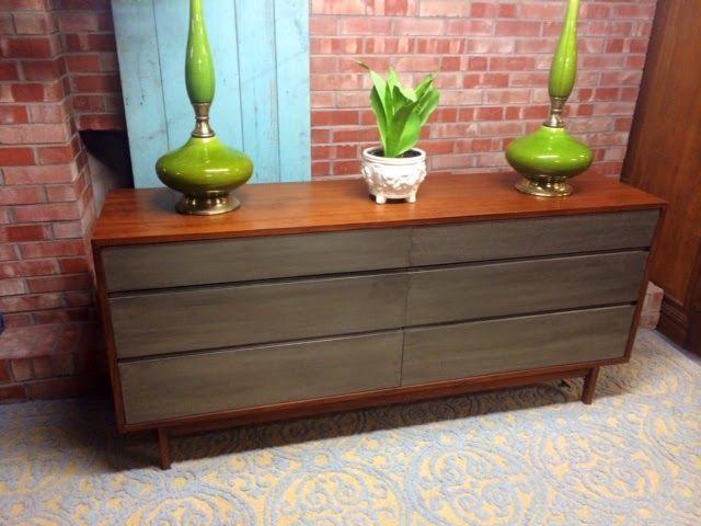 Metallic Finish Painted Dresser 2 Tone Furniture Mcm Lamps Simple Redesign Custom Painting Grand Rapids Mi