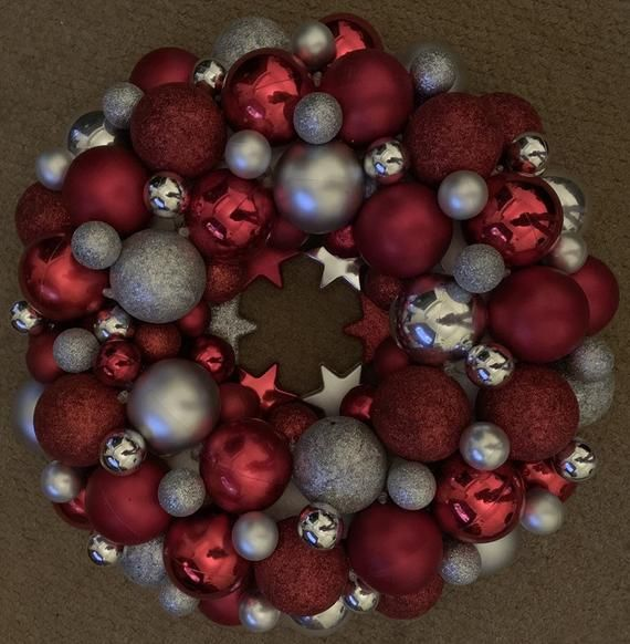 Hand Made Bauble Wreath Red & SIlver