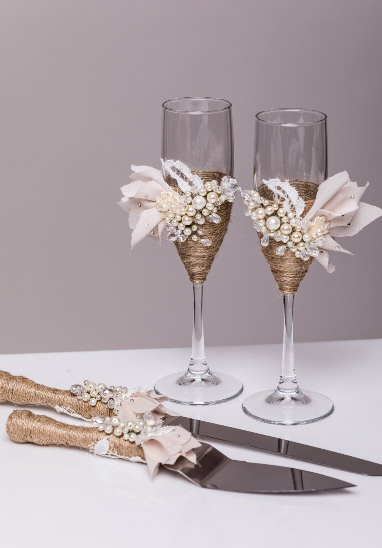 Personalized wedding glasses and cake server set cake
