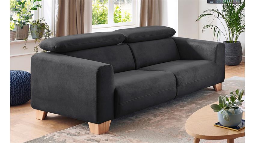 2 5 Sitzer Flora Sofa In Stoff Grau Inkl Kopfteilverstellung