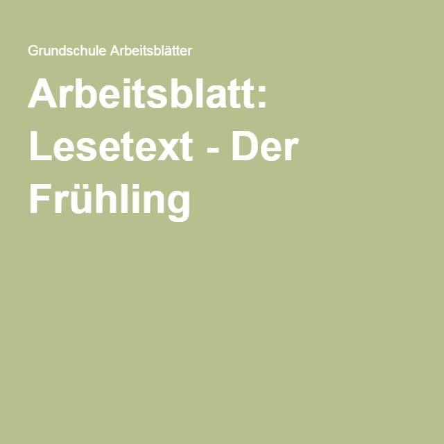 Arbeitsblatt: Lesetext - Der Frühling