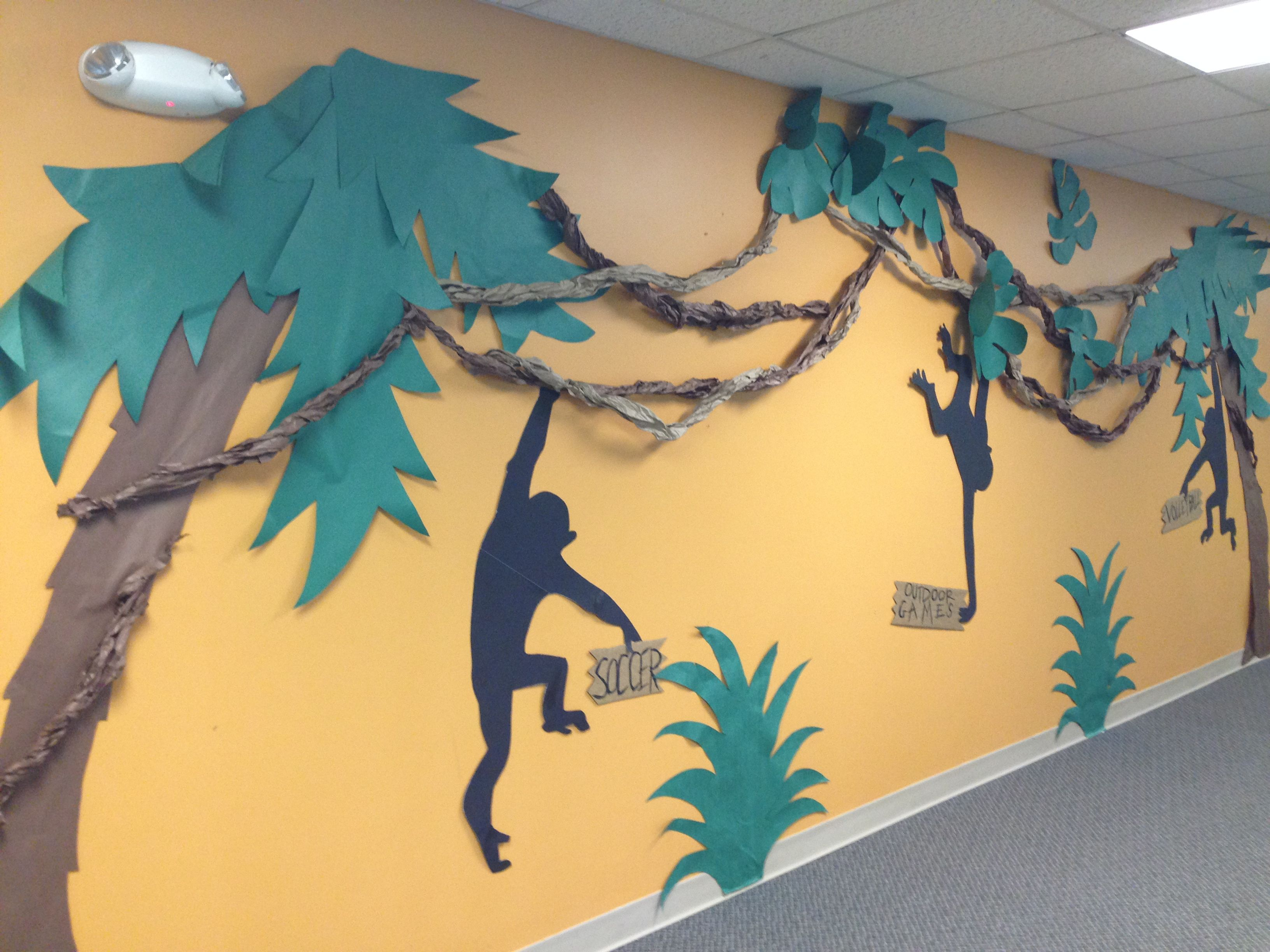 Journey off the map VBS decorations. Monkeys swinging from a vine ...