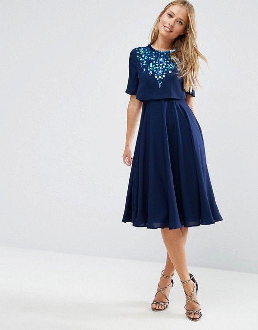 0b053e99bce1 Embellished Crop Top Midi Skater Dress