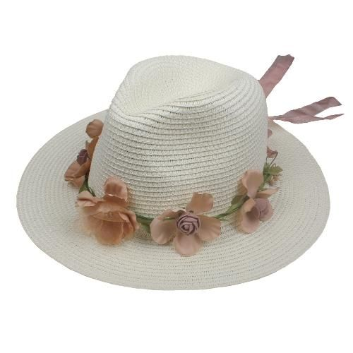 b29d6c6c501 TomTop - TomTop Summer Women Flower Straw Hat Garland Ribbon Floral Wide  Brim Sun Beach Cap