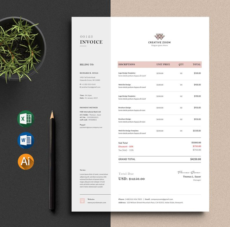 Invoice Template Ms Excel Auto Calculation Features Etsy Invoice Template Invoice Design Invoice Design Template